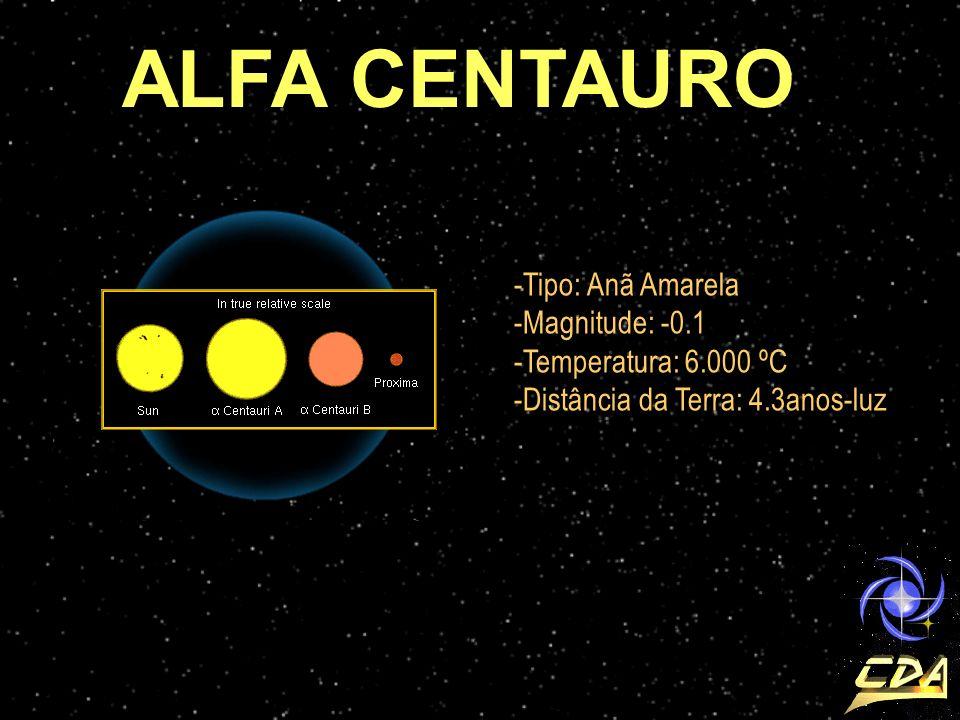-Tipo: Anã Amarela -Magnitude: -0.1 -Temperatura: 6.000 ºC -Distância da Terra: 4.3anos-luz ALFA CENTAURO