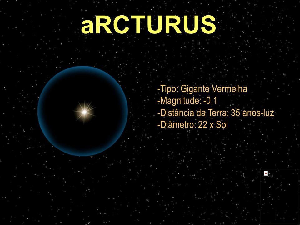 -Tipo: Gigante Vermelha -Magnitude: -0.1 -Distância da Terra: 35 anos-luz -Diâmetro: 22 x Sol aRCTURUS
