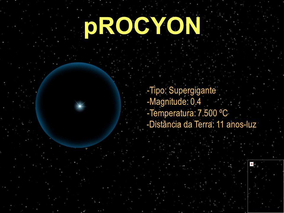 -Tipo: Supergigante -Magnitude: 0.4 -Temperatura: 7.500 ºC -Distância da Terra: 11 anos-luz pROCYON