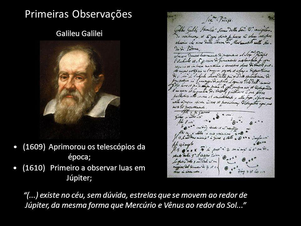 Primeiras Observações Galileu Galilei (1609) Aprimorou os telescópios da época; (1610) Primeiro a observar luas em Júpiter; (...) existe no céu, sem d