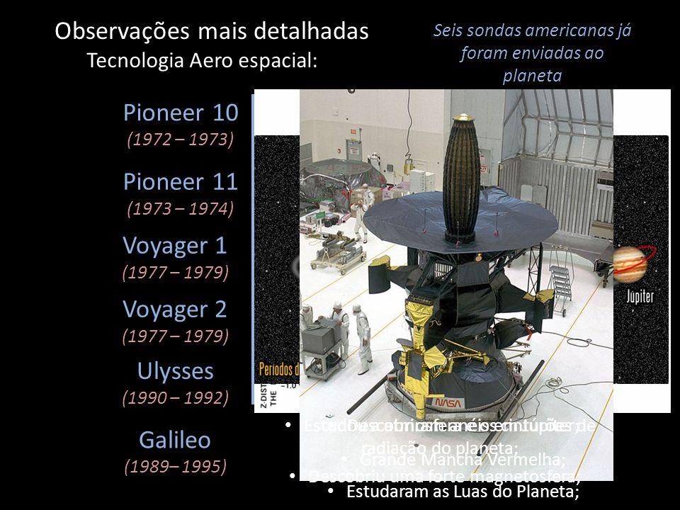 Observações mais detalhadas Tecnologia Aero espacial: Seis sondas americanas já foram enviadas ao planeta Pioneer 10 (1972 – 1973) Pioneer 11 (1973 –