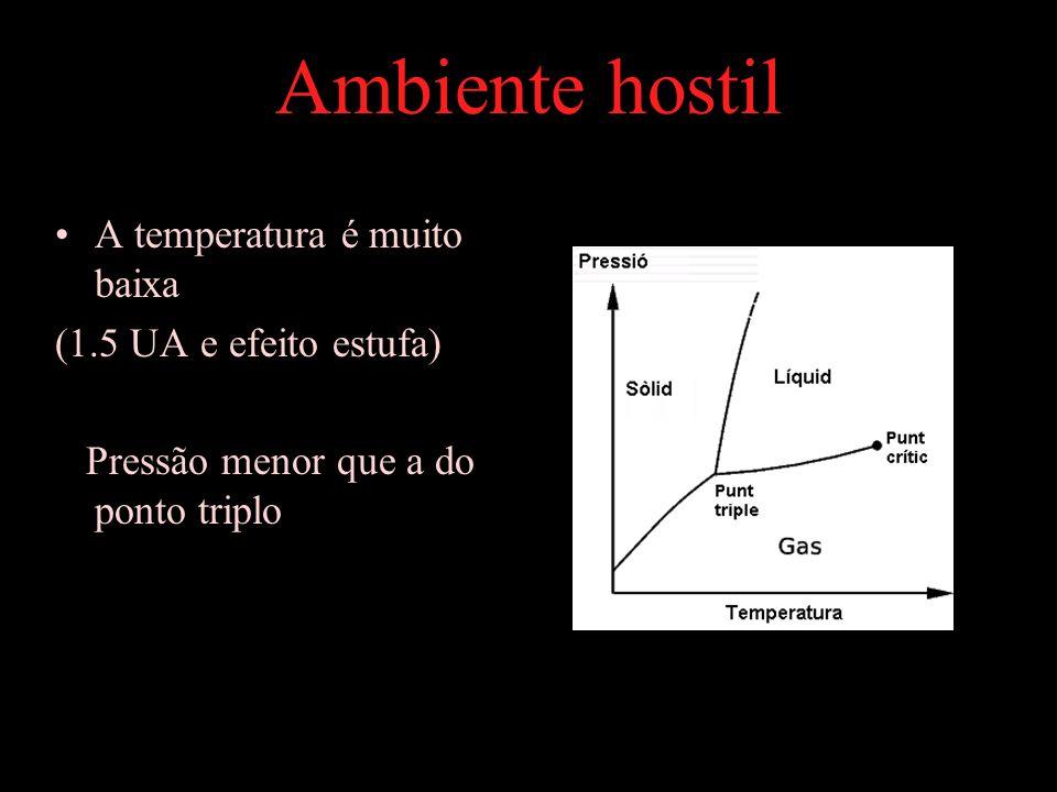 A temperatura é muito baixa (1.5 UA e efeito estufa) Pressão menor que a do ponto triplo Ambiente hostil