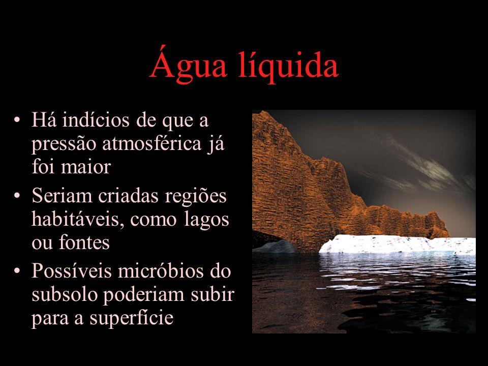 Água líquida Há indícios de que a pressão atmosférica já foi maior Seriam criadas regiões habitáveis, como lagos ou fontes Possíveis micróbios do subs
