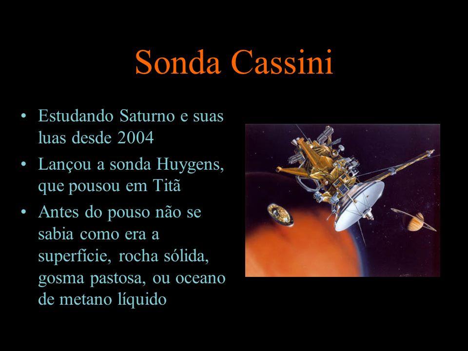 Sonda Cassini Estudando Saturno e suas luas desde 2004 Lançou a sonda Huygens, que pousou em Titã Antes do pouso não se sabia como era a superfície, r