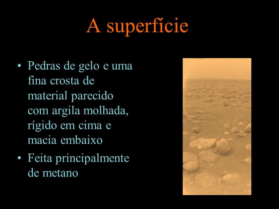 A superfície Pedras de gelo e uma fina crosta de material parecido com argila molhada, rígido em cima e macia embaixo Feita principalmente de metano