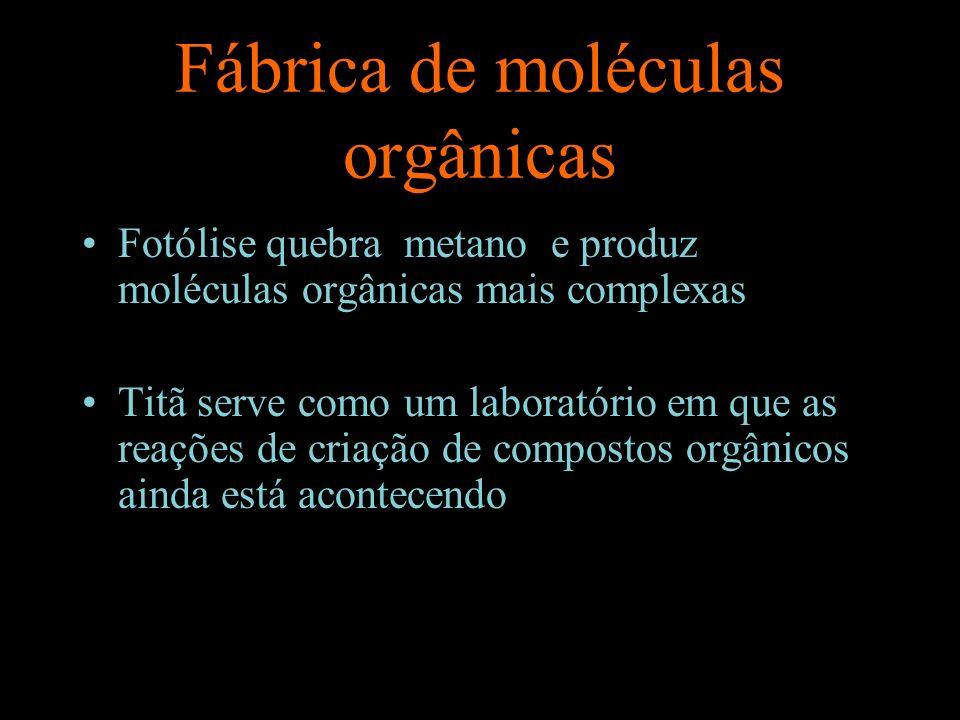 Fábrica de moléculas orgânicas Fotólise quebra metano e produz moléculas orgânicas mais complexas Titã serve como um laboratório em que as reações de