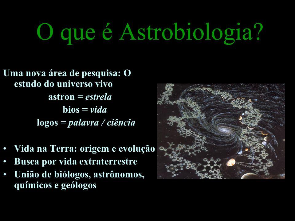 O que é Astrobiologia? Uma nova área de pesquisa: O estudo do universo vivo astron = estrela bios = vida logos = palavra / ciência Vida na Terra: orig