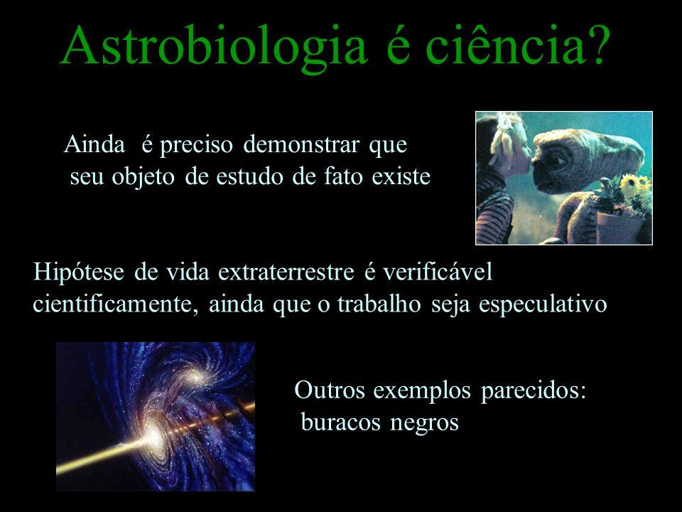 Astrobiologia é ciência? Hipótese de vida extraterrestre é verificável cientificamente, ainda que o trabalho seja especulativo Ainda é preciso demonst