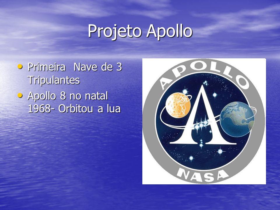 Projeto Apollo Primeira Nave de 3 Tripulantes Primeira Nave de 3 Tripulantes Apollo 8 no natal 1968- Orbitou a lua Apollo 8 no natal 1968- Orbitou a l