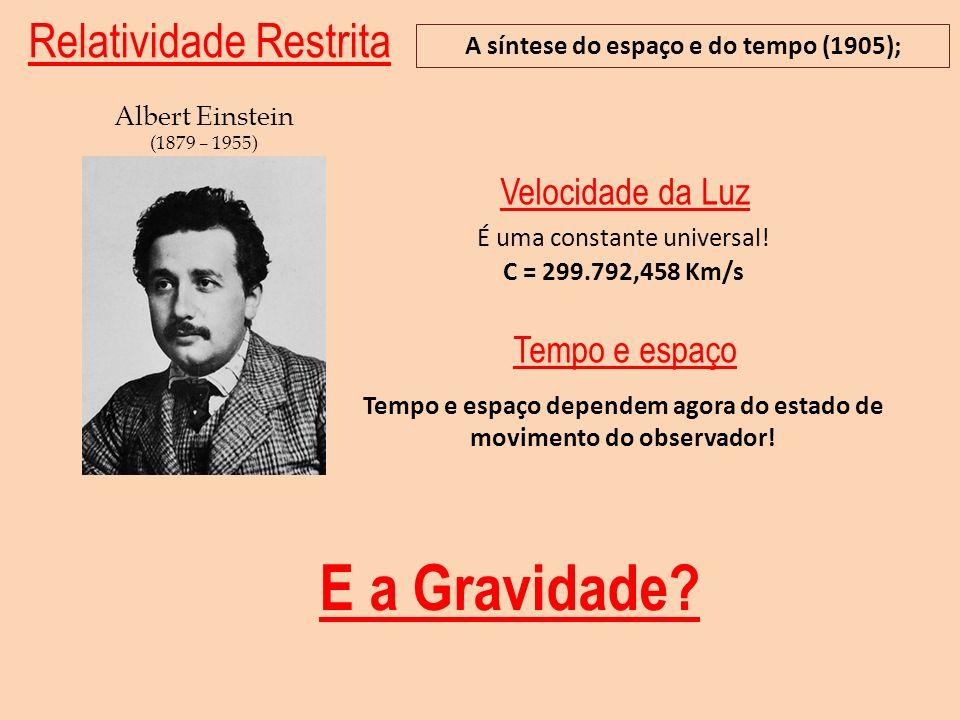 Relatividade Restrita A síntese do espaço e do tempo (1905); Albert Einstein (1879 – 1955) Tempo e espaço dependem agora do estado de movimento do obs