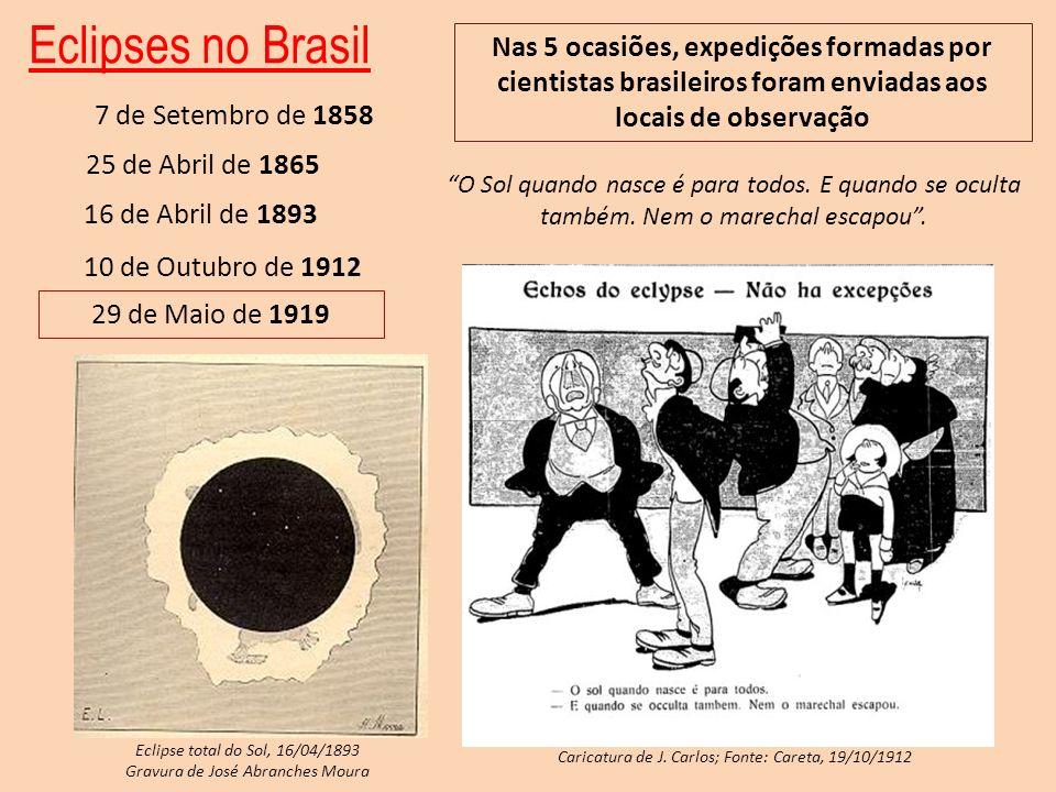 Eclipses no Brasil 7 de Setembro de 1858 25 de Abril de 1865 16 de Abril de 1893 10 de Outubro de 1912 29 de Maio de 1919 Nas 5 ocasiões, expedições f