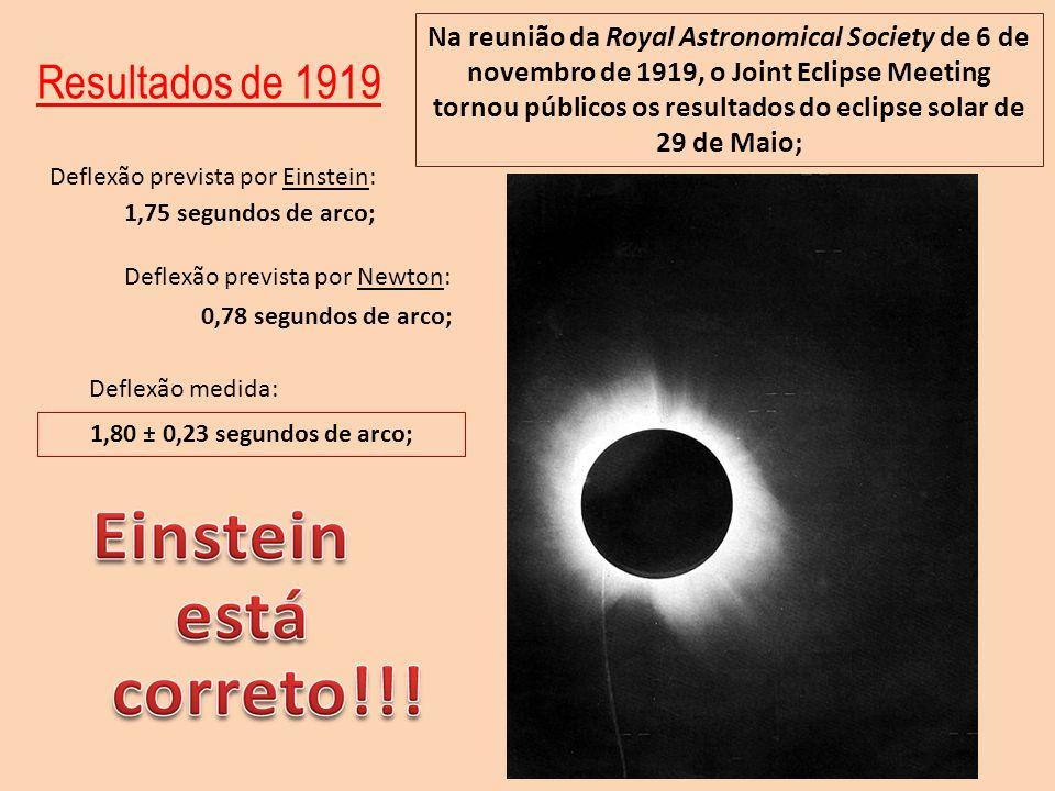 Resultados de 1919 Na reunião da Royal Astronomical Society de 6 de novembro de 1919, o Joint Eclipse Meeting tornou públicos os resultados do eclipse
