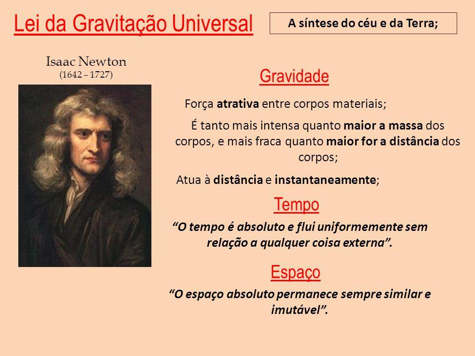 Lei da Gravitação Universal A síntese do céu e da Terra; Isaac Newton (1642 – 1727) Força atrativa entre corpos materiais; Atua à distância e instanta