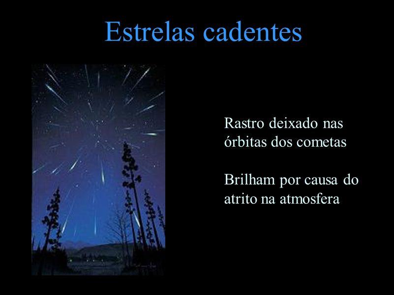 Estrelas cadentes Rastro deixado nas órbitas dos cometas Brilham por causa do atrito na atmosfera