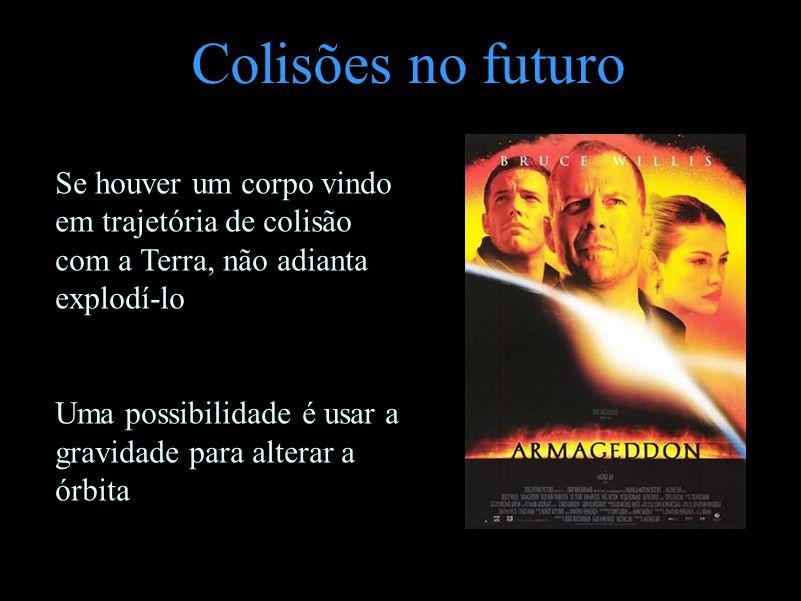 Colisões no futuro Se houver um corpo vindo em trajetória de colisão com a Terra, não adianta explodí-lo Uma possibilidade é usar a gravidade para alt