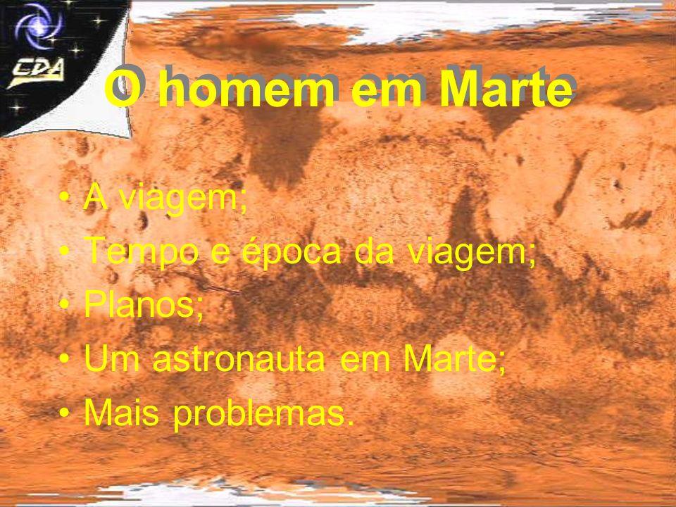 O homem em Marte A viagem; Tempo e época da viagem; Planos; Um astronauta em Marte; Mais problemas.
