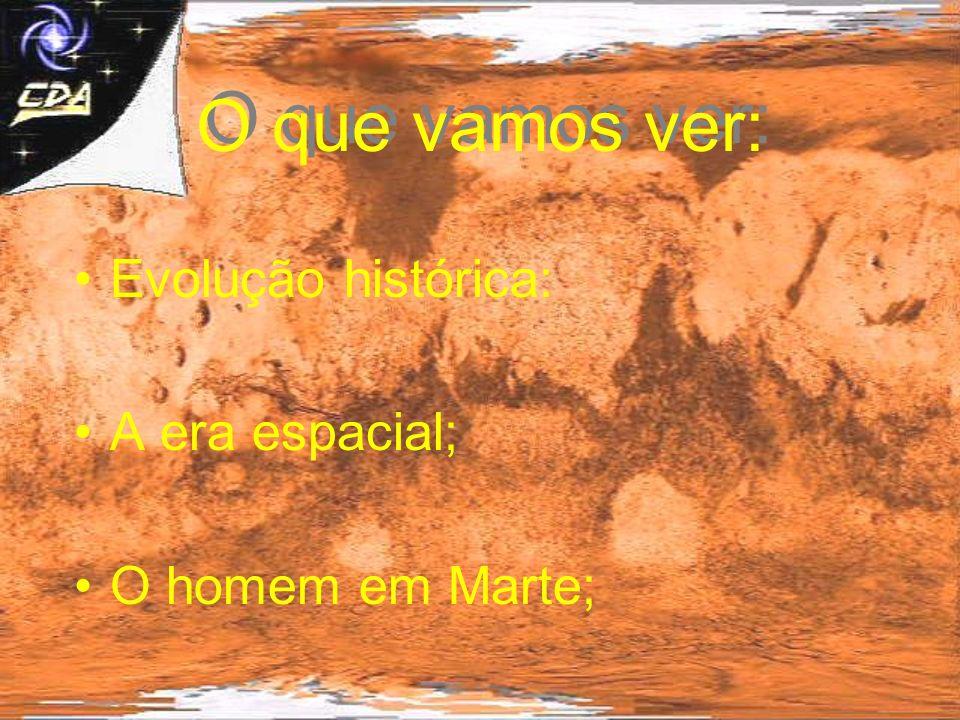 O que vamos ver: Evolução histórica: A era espacial; O homem em Marte;