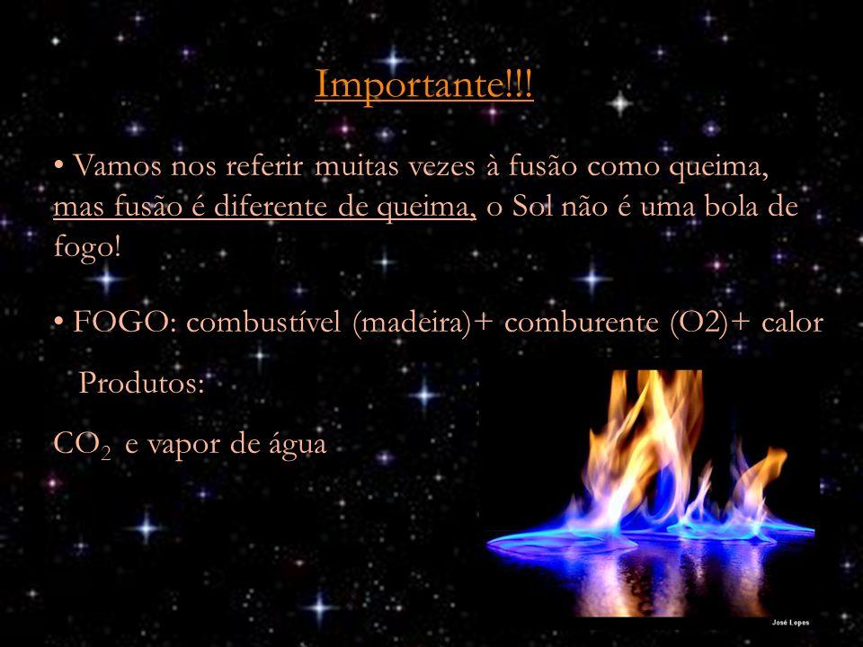 Importante!!! Vamos nos referir muitas vezes à fusão como queima, mas fusão é diferente de queima, o Sol não é uma bola de fogo! FOGO: combustível (ma