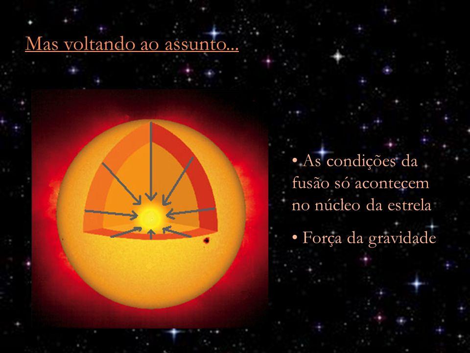 Mas voltando ao assunto... As condições da fusão só acontecem no núcleo da estrela Força da gravidade