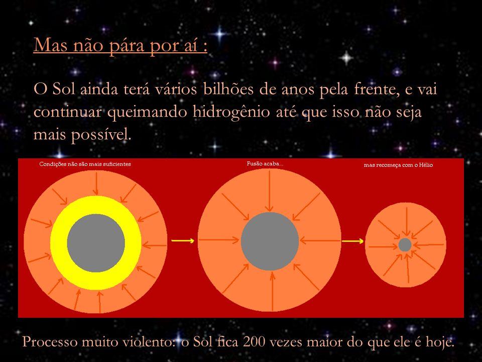 Mas não pára por aí : O Sol ainda terá vários bilhões de anos pela frente, e vai continuar queimando hidrogênio até que isso não seja mais possível. P