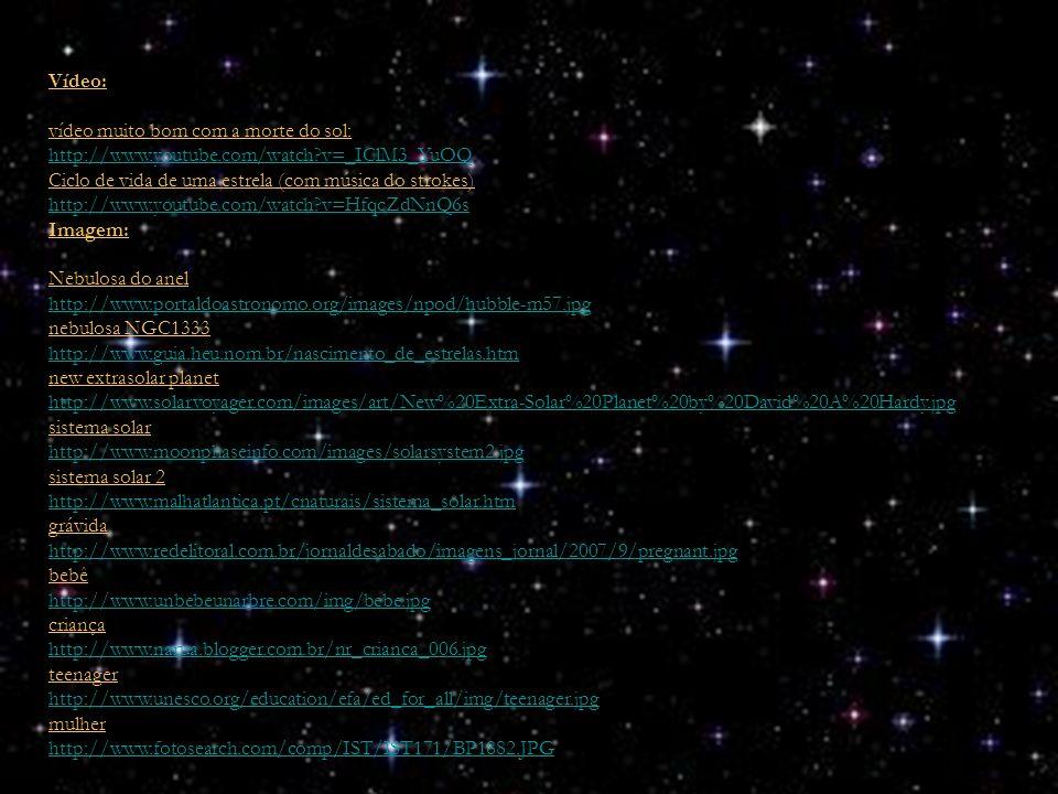 Vídeo: vídeo muito bom com a morte do sol: http://www.youtube.com/watch?v=_IClM3_YuOQ Ciclo de vida de uma estrela (com música do strokes) http://www.