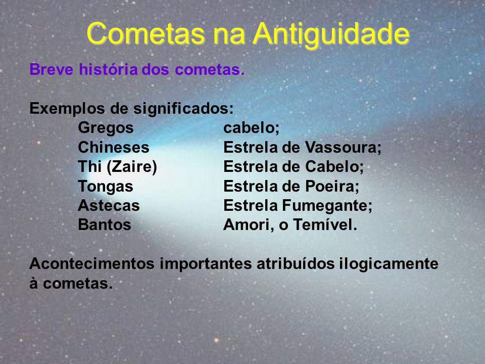 Cometas na Antiguidade Breve história dos cometas. Exemplos de significados: Gregos cabelo; ChinesesEstrela de Vassoura; Thi (Zaire) Estrela de Cabelo