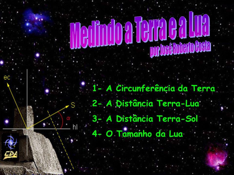 1- A Circunferência da Terra 2- A Distância Terra-Lua 3- A Distância Terra-Sol 4- O Tamanho da Lua