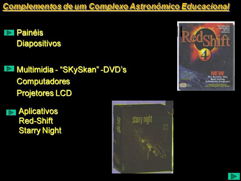 Complementos de um Complexo Astronômico Educacional Painéis Diapositivos Multimidia - SKySkan -DVDs Projetores LCD Computadores AplicativosRed-Shift S