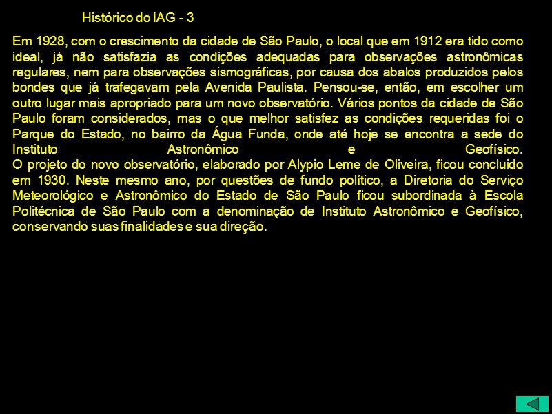Histórico do IAG - 3 Em 1928, com o crescimento da cidade de São Paulo, o local que em 1912 era tido como ideal, já não satisfazia as condições adequa