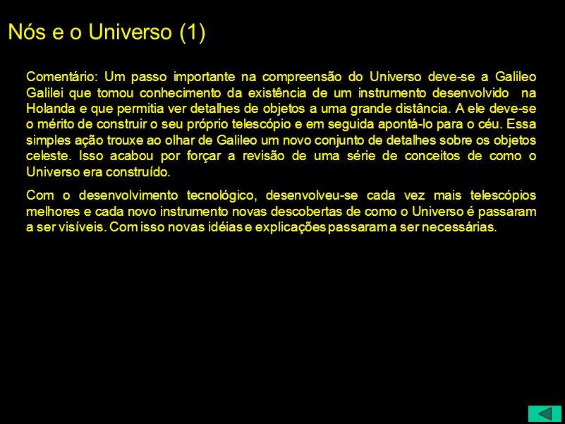 Nós e o Universo (1) Comentário: Um passo importante na compreensão do Universo deve-se a Galileo Galilei que tomou conhecimento da existência de um i