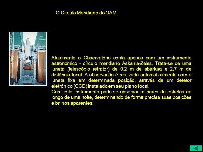 Atualmente o Observatório conta apenas com um instrumento astronômico - círculo meridiano Askania-Zeiss. Trata-se de uma luneta (telescópio refrator)