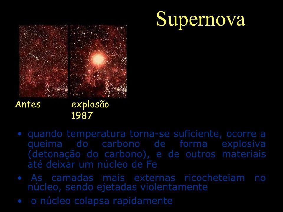 Supernova quando temperatura torna-se suficiente, ocorre a queima do carbono de forma explosiva (detonação do carbono), e de outros materiais até deix