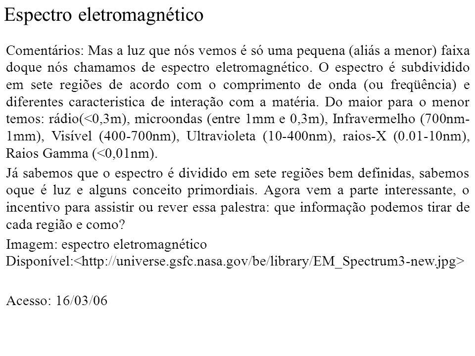 Espectro eletromagnético Comentários: Mas a luz que nós vemos é só uma pequena (aliás a menor) faixa doque nós chamamos de espectro eletromagnético.