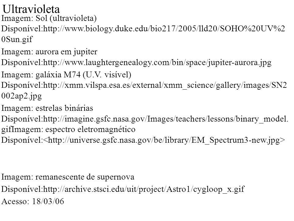 Ultravioleta Imagem: Sol (ultravioleta) Disponível:http://www.biology.duke.edu/bio217/2005/lld20/SOHO%20UV%2 0Sun.gif Imagem: aurora em jupiter Disponível:http://www.laughtergenealogy.com/bin/space/jupiter-aurora.jpg Imagem: galáxia M74 (U.V.
