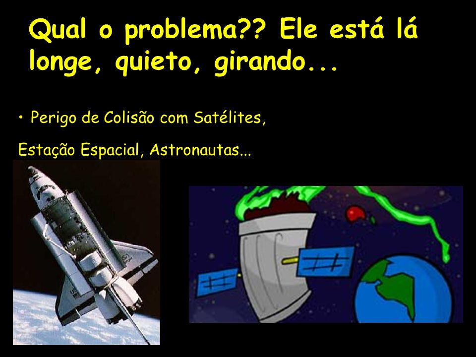 Qual o problema?? Ele está lá longe, quieto, girando... Perigo de Colisão com Satélites, Estação Espacial, Astronautas...