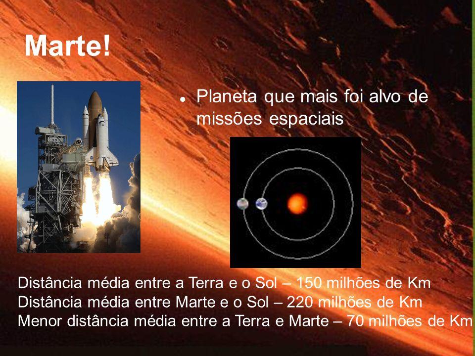 Planeta que mais foi alvo de missões espaciais Distância média entre a Terra e o Sol – 150 milhões de Km Distância média entre Marte e o Sol – 220 mil