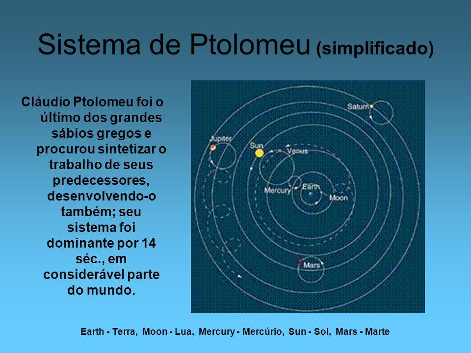 Sistema de Ptolomeu (simplificado) Earth - Terra, Moon - Lua, Mercury - Mercúrio, Sun - Sol, Mars - Marte Cláudio Ptolomeu foi o último dos grandes sá