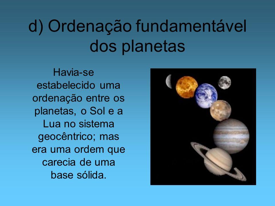 d) Ordenação fundamentável dos planetas Havia-se estabelecido uma ordenação entre os planetas, o Sol e a Lua no sistema geocêntrico; mas era uma ordem
