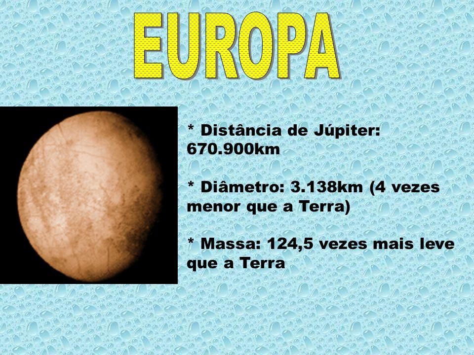* Distância de Júpiter: 670.900km * Diâmetro: 3.138km (4 vezes menor que a Terra) * Massa: 124,5 vezes mais leve que a Terra