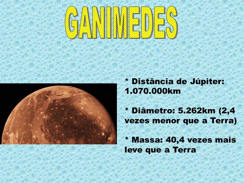 * Distância de Júpiter: 1.070.000km * Diâmetro: 5.262km (2,4 vezes menor que a Terra) * Massa: 40,4 vezes mais leve que a Terra