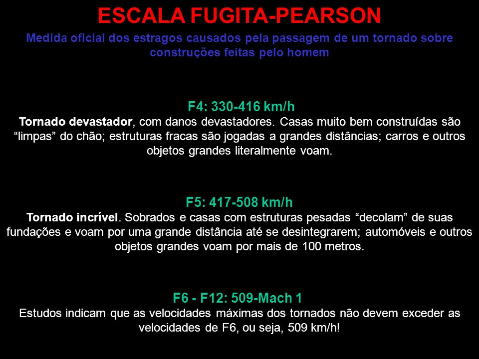 ESCALA FUGITA-PEARSON Medida oficial dos estragos causados pela passagem de um tornado sobre construções feitas pelo homem F0 (64-115 km/h): F2: 180-251 km/h: F3: 252-329 km/h F1 (116-179 km/h) Tornado fraco.