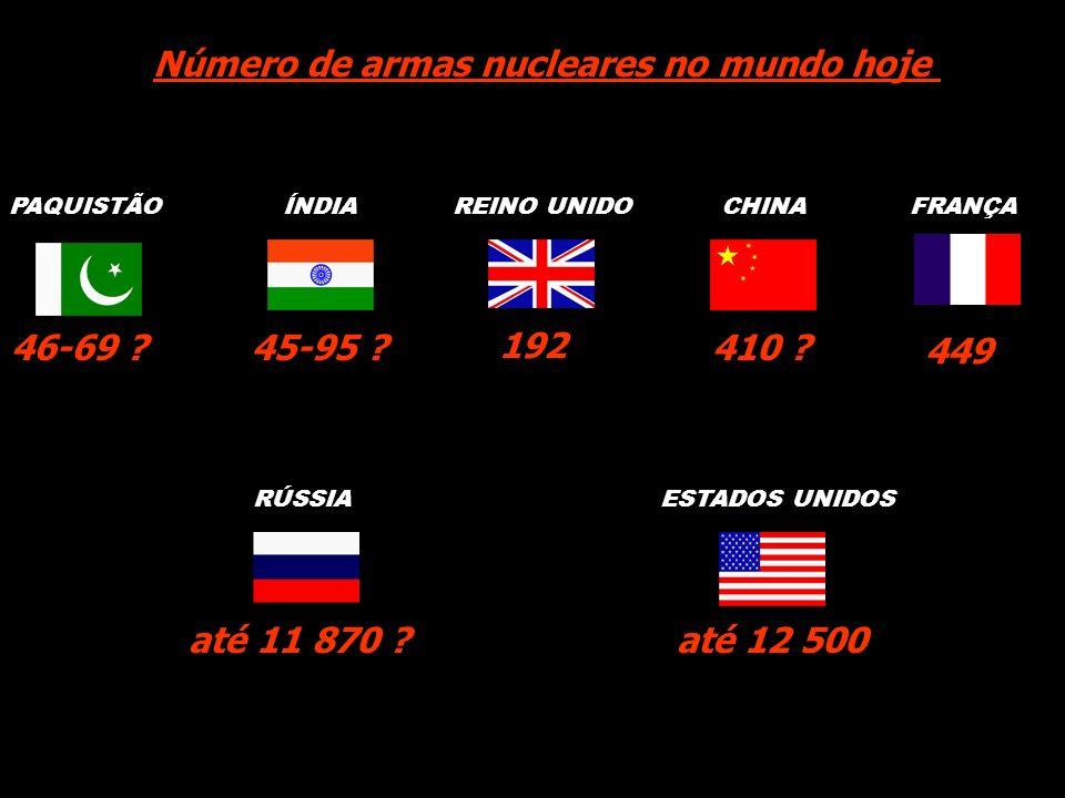 Número de armas nucleares no mundo hoje 45-95 ? 192 410 ? até 11 870 ?até 12 500 PAQUISTÃOÍNDIAREINO UNIDOFRANÇACHINA RÚSSIAESTADOS UNIDOS 46-69 ? 449