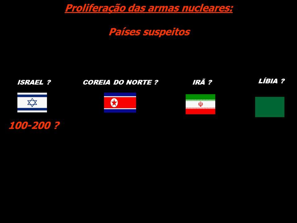 COREIA DO NORTE ?IRÃ ? Proliferação das armas nucleares: Países suspeitos LÍBIA ? 100-200 ? ISRAEL ?