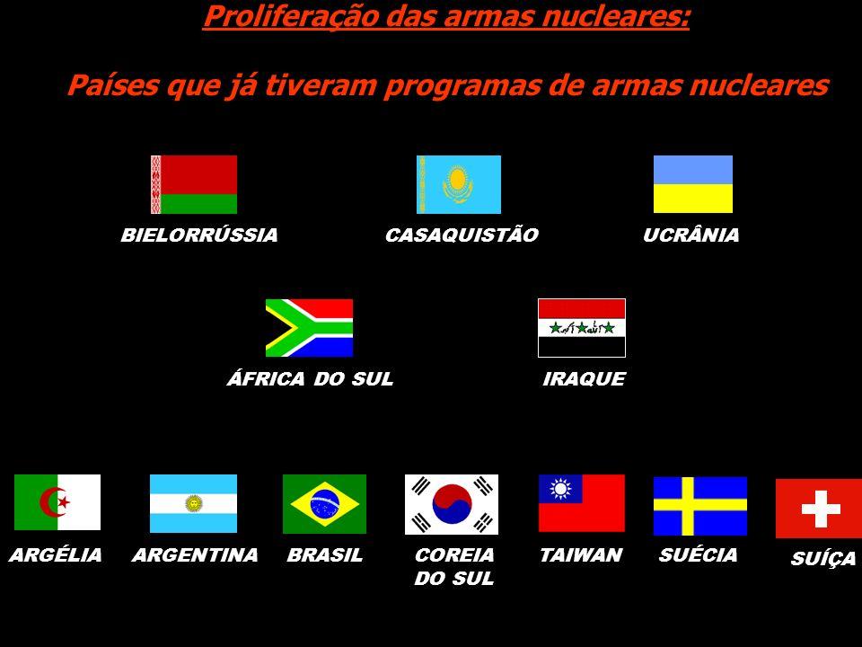 ARGENTINABRASILUCRÂNIAÁFRICA DO SULCASAQUISTÃOTAIWANBIELORRÚSSIA Proliferação das armas nucleares: Países que já tiveram programas de armas nucleares
