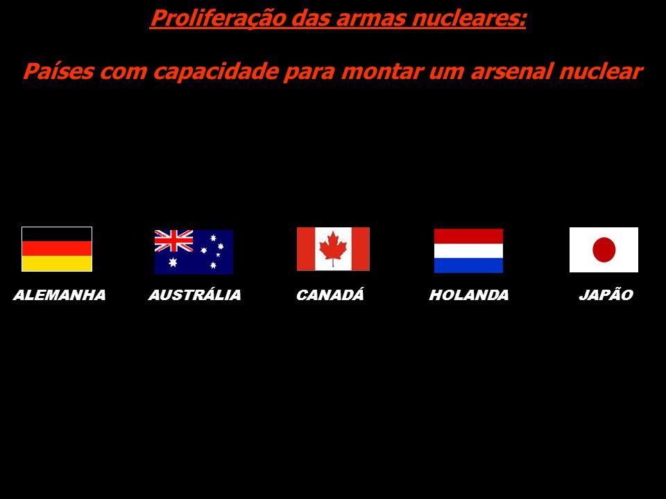 Proliferação das armas nucleares: Países com capacidade para montar um arsenal nuclear JAPÃOALEMANHA AUSTRÁLIA CANADÁHOLANDA