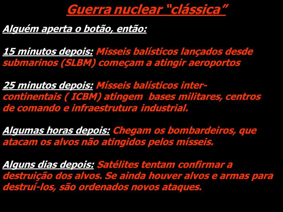 Guerra nuclear clássica Alguém aperta o botão, então: 15 minutos depois: Misseis balísticos lançados desde submarinos (SLBM) começam a atingir aeropor
