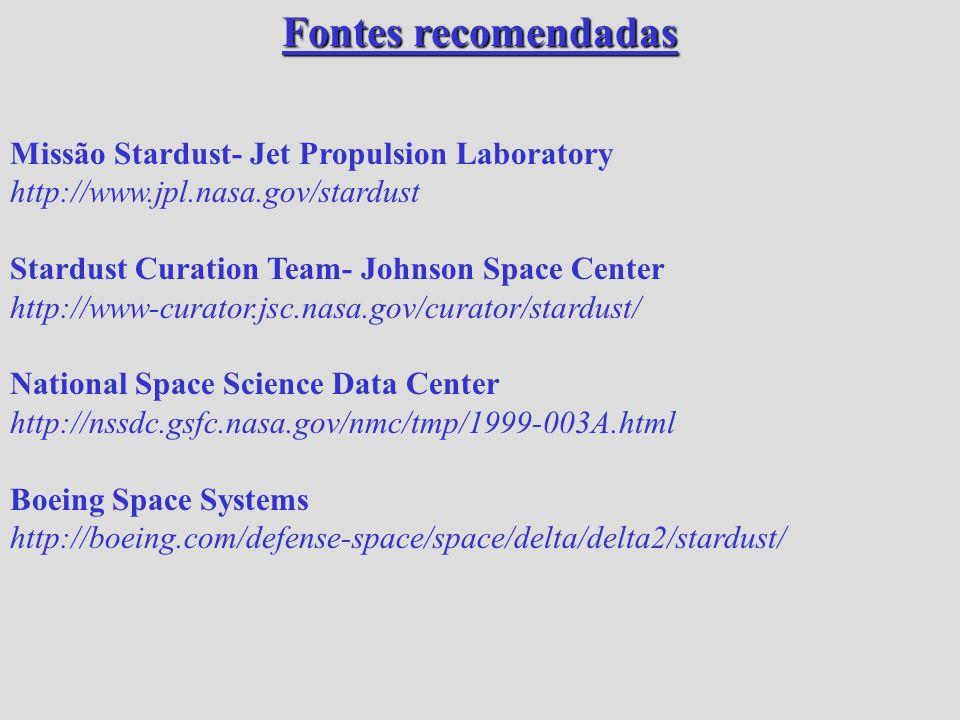 Fontes recomendadas Missão Stardust- Jet Propulsion Laboratory http://www.jpl.nasa.gov/stardust Stardust Curation Team- Johnson Space Center http://ww