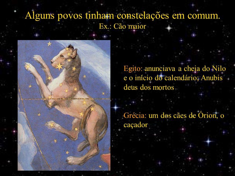 Alguns povos tinham constelações em comum. Ex.: Cão maior Egito: anunciava a cheia do Nilo e o início do calendário; Anubis deus dos mortos Grécia: um