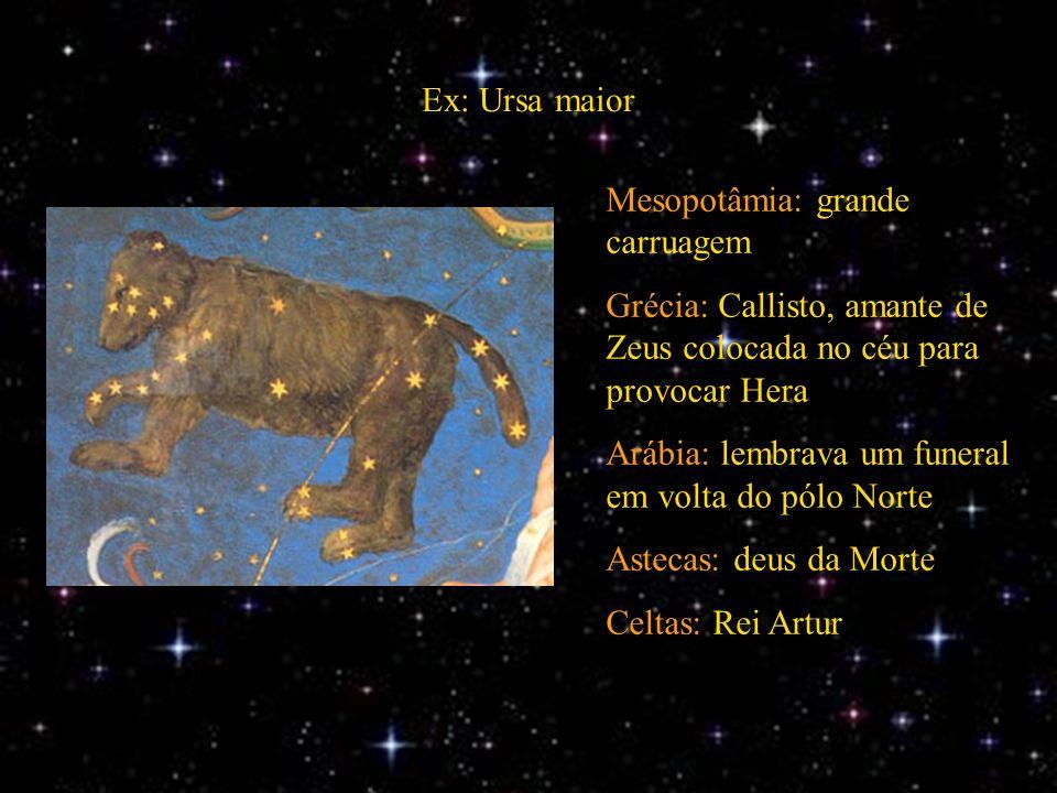 Ex: Ursa maior Mesopotâmia: grande carruagem Grécia: Callisto, amante de Zeus colocada no céu para provocar Hera Arábia: lembrava um funeral em volta