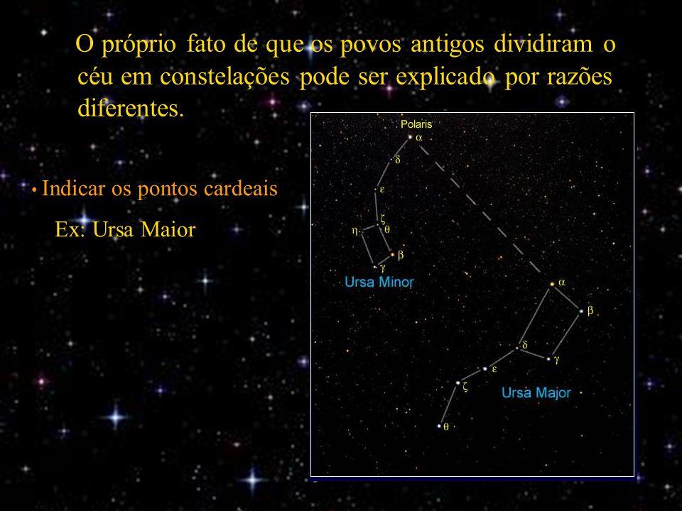 O próprio fato de que os povos antigos dividiram o céu em constelações pode ser explicado por razões diferentes. Indicar os pontos cardeais Ex: Ursa M